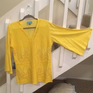 TAJ by Sabrina Crippa Tops - Taj by Sabrina Crippa, yellow beaded tunic